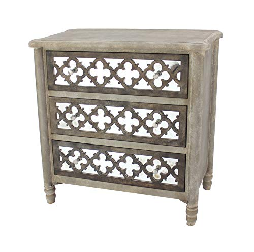Benjara Quatrefoil Wooden Storage Cabinet with 3 Drawers, Brown and Silver