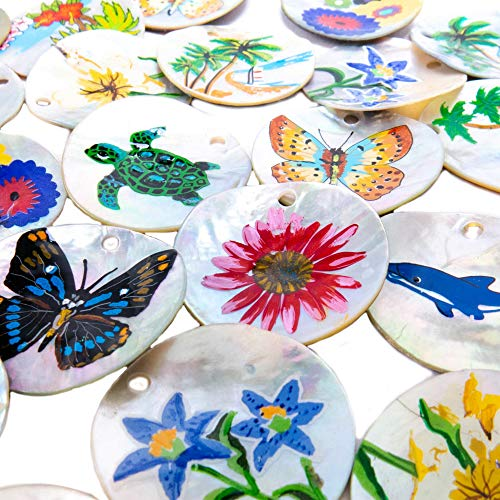 (30 Pieces Mother of Pearl Hand Painted Shell Pendant Pack with 5 Suede Charmless Necklaces, 5 Pairs of Earring Hooks and 16 Jump Rings - Great Jewelry DIY Kit for Sea Life, Beach, Tropical Designs)
