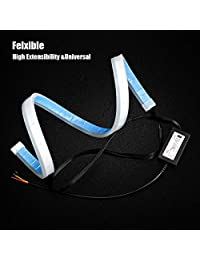 Flexible Led Light Strip 2Pcs 24 Inches Dual Color White Amber Sequential Switchback DRL LED Kit Waterproof for Car Replacement Switchback Headlight Decorative Lamp Kits and Turn Signal Tube Lights