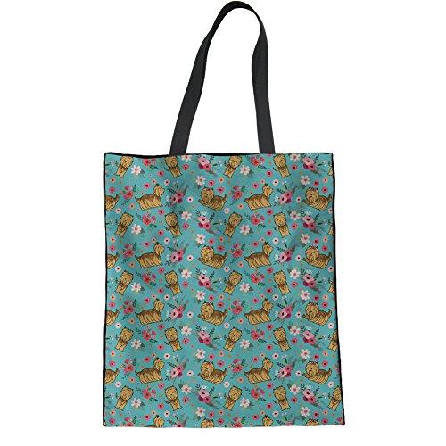 HUGS IDEA Yorkshire Terrier Cotton Tote Shoulder Bag Teen Girl Stylish Handbag School Ipad Bag ()