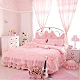 Auvoau Korean Rural Princess Bedding,Delicate Floral Print Lace Duvet Cover,Baby Girl Fancy Ruffle Wedding Bed Skirt,Princess Luxury Bedding Set 4PC (King, Pink) offers