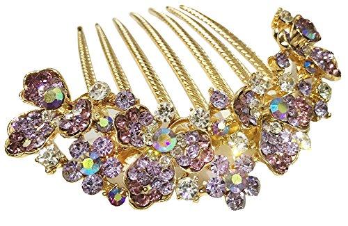 AnVei-Nao Womens Luxury Bohemia Flowers Rhinestones Hair Combs Accessories For Girl Purple