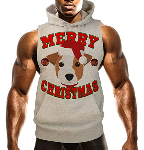 Men's Merry Christmas Jack Russell B1482 Gray Fleece Vest Hoodie 3X-Large Gray