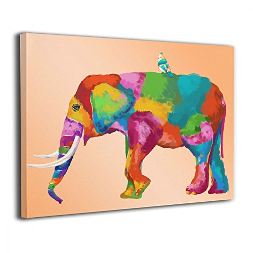 Wood Elephant Mural (Art-logo Vibrant Color Elephant And Little Bird Canvas Wall Art Animal Picture Modern Artwork Painting for Home Office Kitchen Decoration 16