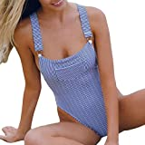 Women One Piece Swimsuit High Waisted Halter Tie Jumpsuit Thong Ruffled Flounce Crop Bikini Top Cut Out Bottom Push Up Strap Adjustable Padding Cup Pool Swim Bathing Suit Sexy (S, Blue)