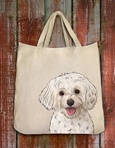 Maltipoo Dog Portrait Color Design Extra Large Eco Friendly Reusable Cotton Twill Grocery Shopping Tote Bag