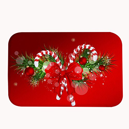 Yilooom Christmas Ornaments Red Bath Mat Coral Fleece Area Rug Door Mat Entrance Rug Floor Mats for Front Outside Doors Entry Carpet 50 X 80 X 1.3 cm