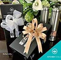 Battery Operated Ceramic Burr Salt Pepper Mills with Automatic Push Buttons Electric Salt and Pepper Grinder Set by Kitchen Noble LED Light /& Adjustable Coarseness Solid Stainless Steel Shakers