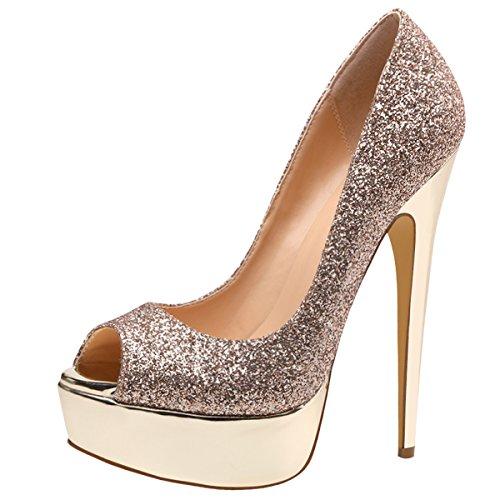 - onlymaker Platform Pumps for Women, Peep Toe High Heels Slip On Heeled Shoes Dress Party Pumps Gold US 14