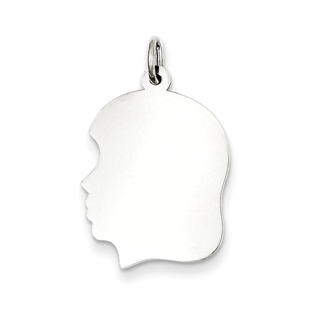 Sterling Silver Polished Flat back Engravable Engraveable Girl Disc Charm