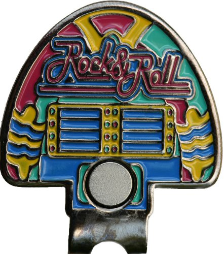 Swarovski Fun Jukebox Golf Ball Marker with Matching Rock and Roll Hat Clip