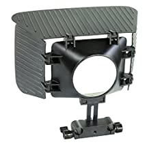 Filmcity MB-77 Matte Box Sunshade Hood with Adjustable, Removable Top and Side Flags Mattebox for Video DSLR Camera Nikon Sony Canon 43mm to 77mm Lens, 15mm Rail Rod Shoulder Support Follow Focus Rig