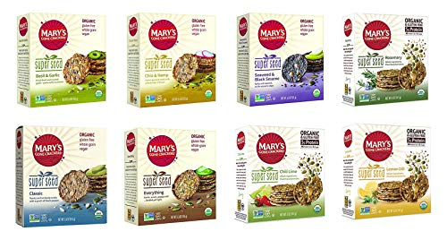Mary's Gone Crackers Super Seed - 8 Flavor Variety Bundle - 5.5 Ounce - Basil & Garlic, Classic, Chia & Hemp, Everything, Seaweed & Black Sesame, Rosemary, Chili Lime, Lemon Dill