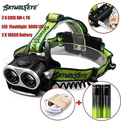 Headlight,Lisingtool 8000LM 2X XM-L T6 Headlamp Headlight Head Light LED Rechargeable USB+Battery