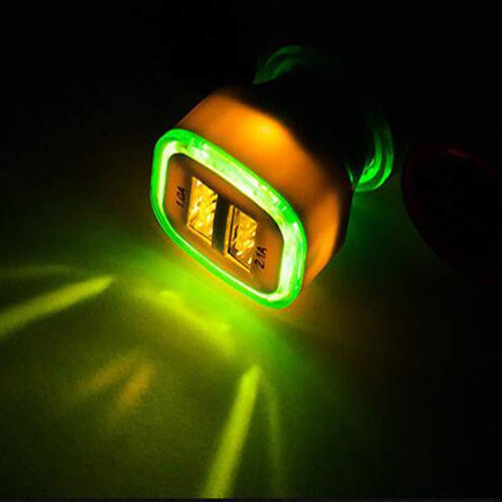 Environ 7 cm x 2,5 cm qhtongliuhewu Adaptateur Chargeur de Voiture Universel Double Port USB Durable l/éger