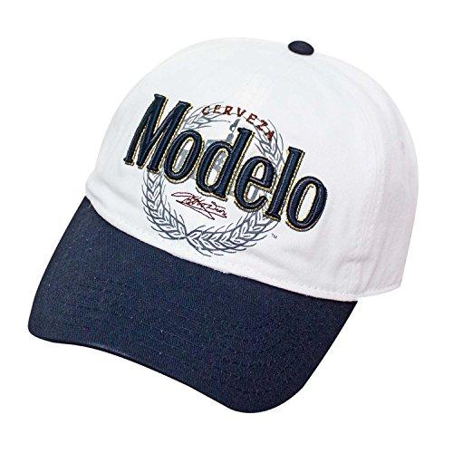 Screen Embroidered Cap Print - Corona Men's Cerveza Modelo Baseball Cap, Embroidered Emblem, Adjustable, White one Size