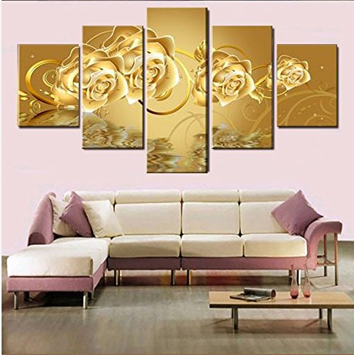 [Medium] Premium Quality Canvas Printed Wall Art Poster 5 Pieces / 5 Pannel Wall Decor Golden Rose Painting, Home Decor Pictures - With Wooden Frame - Rose Art Print Poster