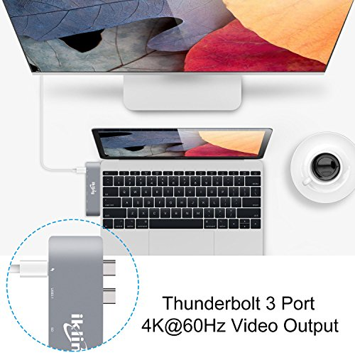 Thunderbolt 3 to USB Type C Hub Adapter - ikling Multiport Adapter for 2016/2017 MacBook pro 13''/15'', with 40Gbps TB 3, SD/TF Card Reader, 2 USB 3.0, USB C 3.1, Power Delivery Type C Charging Port by ikling (Image #2)