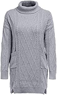 WOCACHI Womens Tunic Knit Sweater Turtleneck Warm Long Sleeve Mini Dress with Pockets