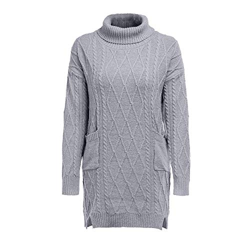 Padaleks Women Winter Knit Sweater Ladies Sexy Turtleneck Warm Long Sleeve Loose Mini Dress Pullover ()