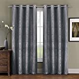 Royal Hotel Prairie Gray Grommet Blackout Weave Embossed Window Curtain Panels, 52×108 inches Single Panel