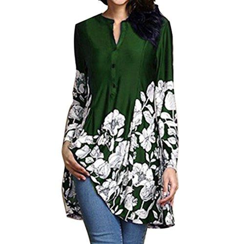 Long Impression Chemise Casual S Mid 5Xl Chemise Manches Vert Rond Blouse Longues 5 Pattern Col Dress Couleurs D't Floral Lache Femmes des prx0Z6p
