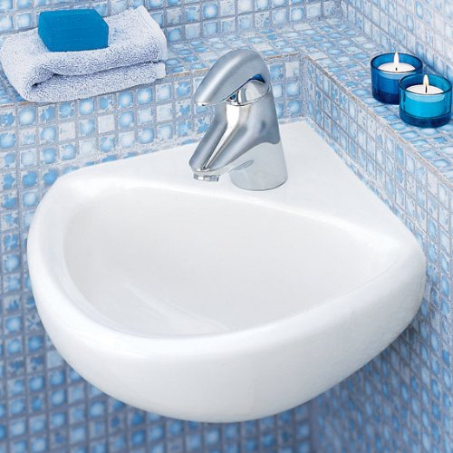 033056045381 - American Standard 0451.021.020 Corner Minette Wall Hung Corner Sink with Faucet Holes On 4-Inch Centerset, White carousel main 2