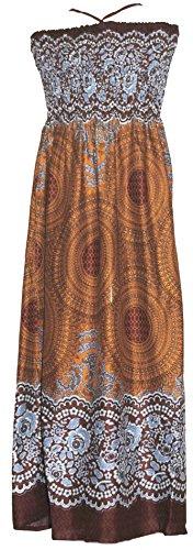 Damen Midi Kleid Rock Verschiedene Farben und Muster Braun Feathers