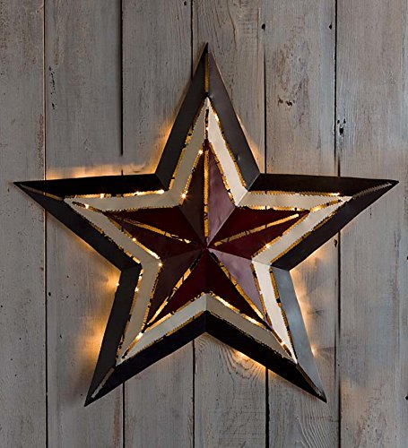 Large Lighted Americana Metal Star, 26½ dia