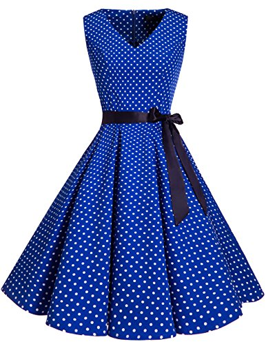 Neck Audrey Hepburn 1950s Vintage Cocktail Rockabilly Swing Dress Royal Blue Small White Dot XL ()