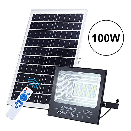 100W Solar Flood Light Street Flood Lights, APONUO 196 LED 5000 Lumens Outdoor IP67 Waterproof with Remote Control Sensing Auto On/Off for Yard, Garden, Billboard, Swimming Pool, Basketball Court
