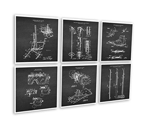 (Gnosis Picture Archive Ski Decor for Home Set of 6 Unframed Ski Patent Prints Patents_SKi_Chk6A)