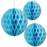 "Floral Reef Set of 3 Assorted Sizes (8"", 10"", 12"") - SKY BLUE Tissue Paper Honeycomb Ball Pom Pom Flower Hanging Home Decoration Party Wedding"