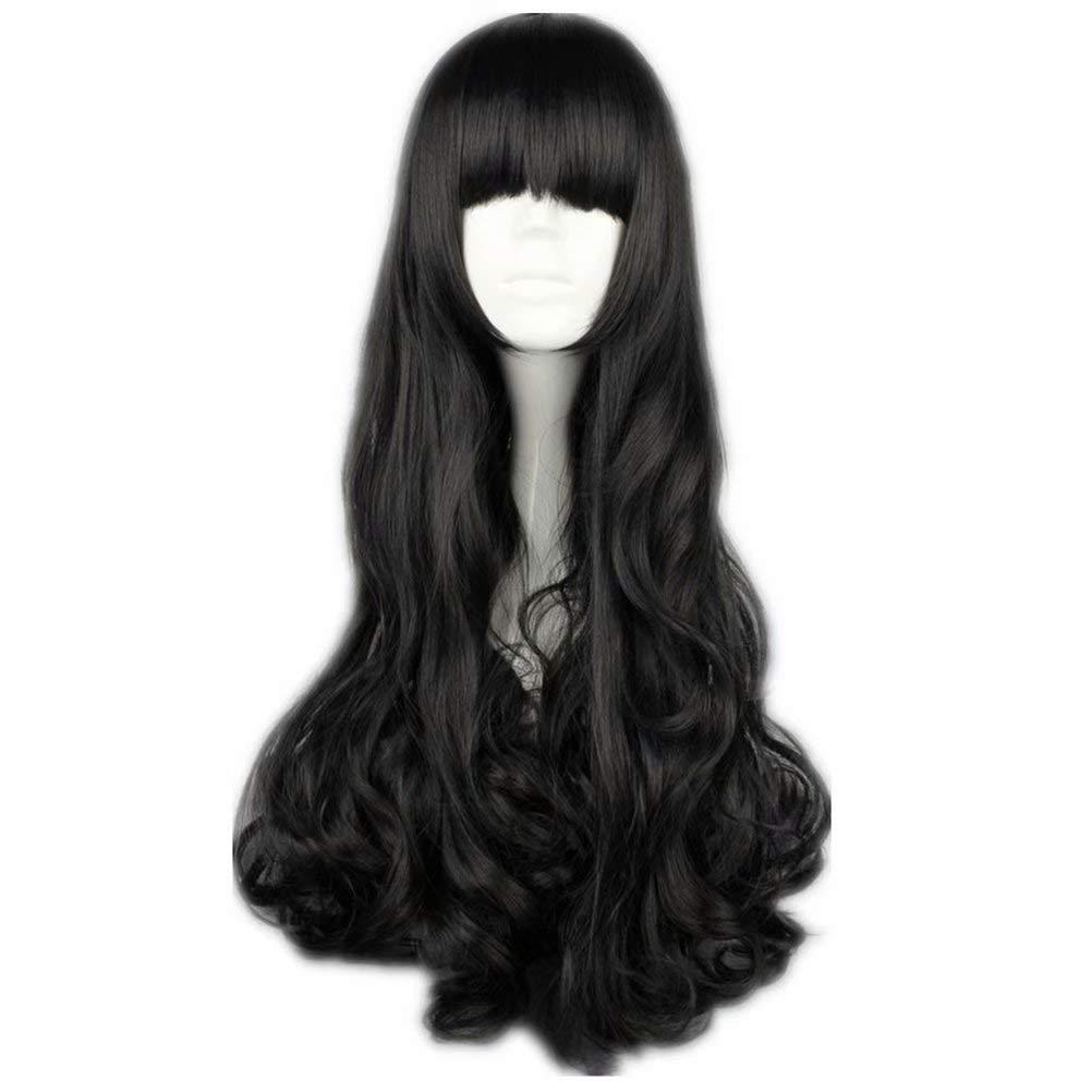 NiceLisa M/ädchen langes lockiges schwarzes Halloween Anime Cosplay synthetische Per/ücken flache Pony