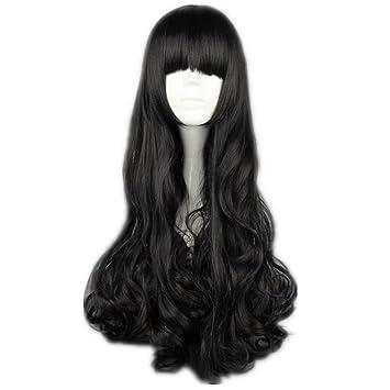 Amazon.com : COSPLAZA Women Long Curly Black Halloween Anime ...
