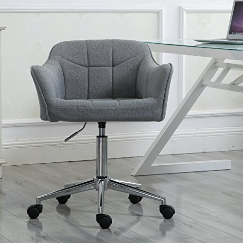 Swivel Office Desk Chair Ergonomic Modern Accent Farbic Home Task Chair with Armrest, Grey by windaze
