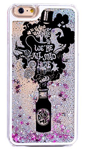 Dynamic Quicksand Glitter Phone Case Cover For iPhone 6S / 6 - Fabulous Quotes from Alice in the Wonderland You are All Mad Here