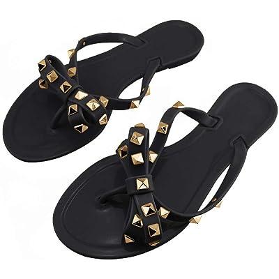 utop Women's Rivets Bowtie Flip Flops Jelly Thong Sandal Summer Beach Rain Shoes | Sandals