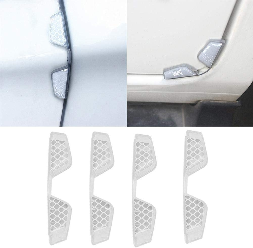Duokon 4pcs Anti Scratch Car Door Reflective Strip Guard Sticker Invisible Rubber Edge Protector