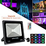 MEIKEE 50W RGB LED Flood Light, 16 Colors 4 Modes RGB Security Light with 360° RF-Wireless Remote Control, Memory Function, Waterproof Color Changing Outdoor LED Floodlight Decoration for Garden, Landscape, Party, Christmas, Hallowee