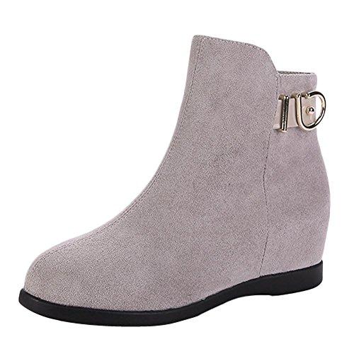 Mee Shoes Damen hidden heels Nubukleder Reißverschluss Stiefel Grau