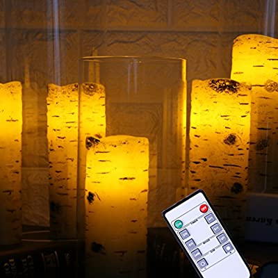 Flameless Candles Pillars Light Real Birch bark Wax for Gifts set of 5 with Remote Control & Timer
