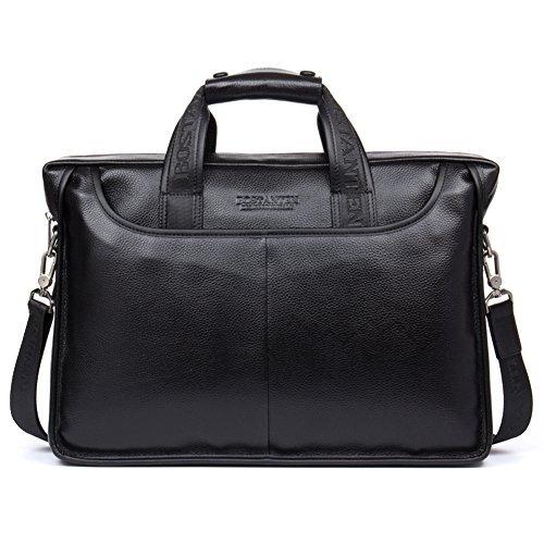 (BOSTANTEN Leather Briefcase Handbag Messenger Business Bags for Men Black)