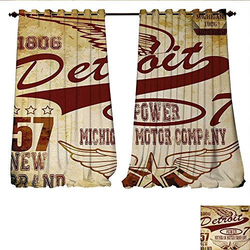 Wings Company Kendall (Room Darkening Wide Curtains Vintage Elements Michigan Company Free Wings Transport Auto Show Themed Decor Curtains by W84 x L108 Pale Yellow Burgundy)