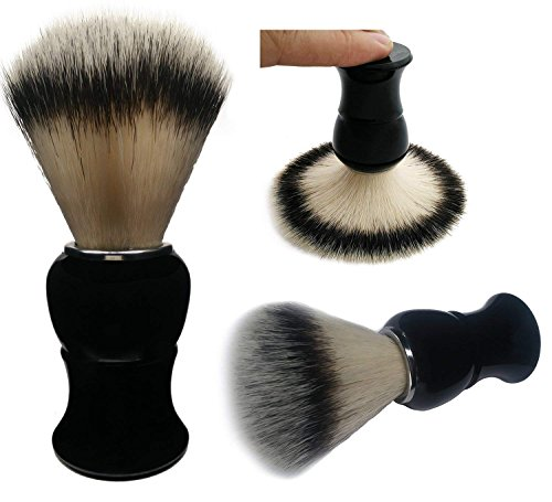 Shaving Brush, QSH Synthetic Brush Hair Knot with Pure Black Engineered Imported Acrylic Handle Shaving Brush for Razors