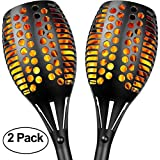 Solar Lights, Sunlitec Waterproof Flickering Flames Torches Lights Outdoor Landscape Decoration Lighting Dusk to Dawn Auto On/Off Security Torch Light for Garden Patio Deck Yard Driveway, 2 Pack