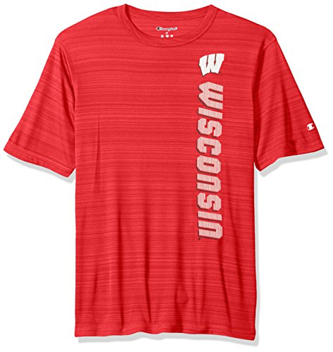 Badger Football T-shirt (NCAA Wisconsin Badgers Men's Boosted Stripe T-Shirt, Large, Red)
