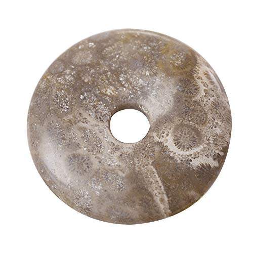 (Fossilized Coral Natural Stone 40mm Donut Pendant)