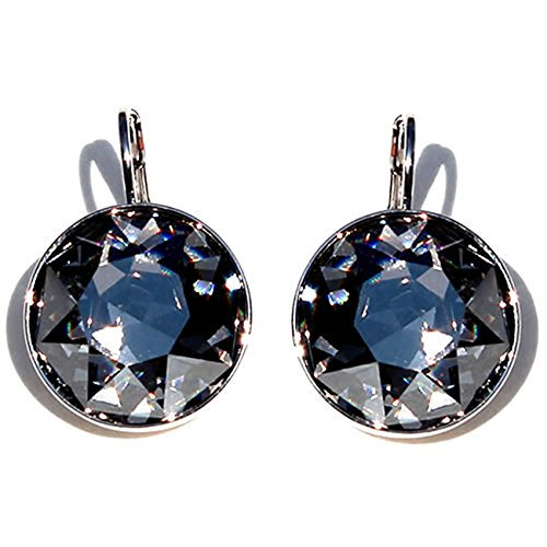 Pierced Swarovski Earrings Bella (CP Large Bella Black Diamond Rhodium Plated Earrings Made with Swarovski Crystals)