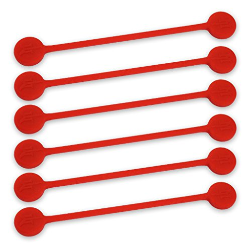 TwistieMag Strong Magnetic Twist Ties - The Lady in Red Collection - Cherry Red 6 Pack - Super Powerful Unique Solution for Cable Management, Hanging & Holding Stuff, Fidget Toy, Or Just for Fun!